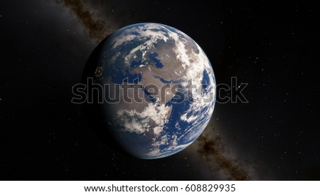 Planet Earth from space 3D illustration (Elements of this image furnished by NASA) #608829935