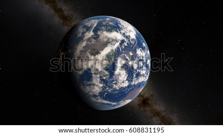 Planet Earth from space 3D illustration (Elements of this image furnished by NASA) #608831195