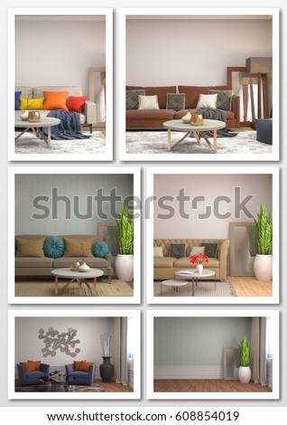 Collage of modern home interior. 3d illustration #608854019