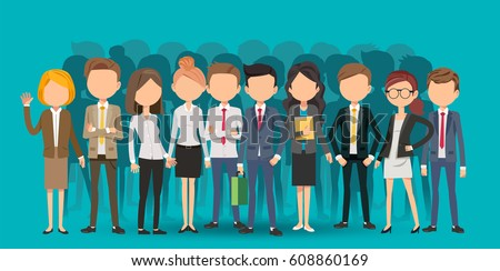 Personnel Selection creating business in cartoon style. Big teamwork to finding a new idea working form. Looking deep into the meaning of the system. Royalty-Free Stock Photo #608860169