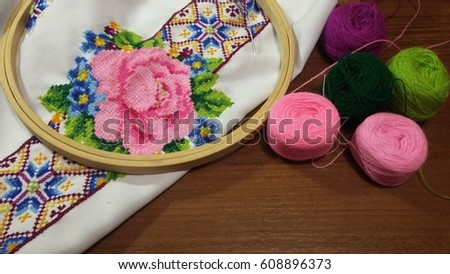 Embroidery, hanging with a knife, threads and needles #608896373