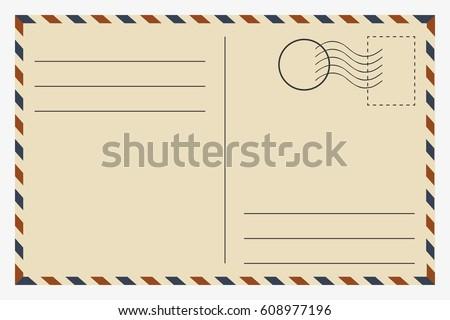 Postcard. Vintage template. Vector illustration. Royalty-Free Stock Photo #608977196