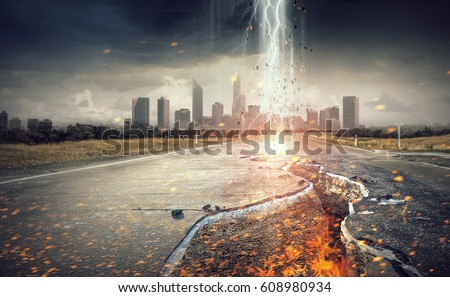 Idea of catastrophe and danger Royalty-Free Stock Photo #608980934