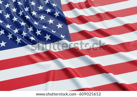 USA flag. Wavy fabric high detailed texture. 3d illustration rendering #609025652