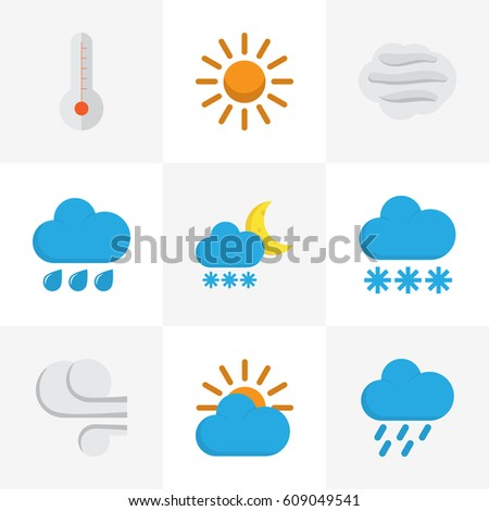 Meteorology Flat Icons Set. Collection Of Windy, Snow, Rain And Other Elements. Also Includes Symbols Such As Hot, Storm, Cloud. #609049541