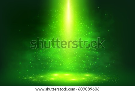 Green magic smoky light with particles abstract vector background Royalty-Free Stock Photo #609089606
