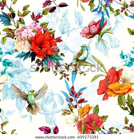Seamless floral pattern. Poppy, wild blossom, rose, nightingale birds with leaves on flower background with humming bird. Watercolor, hand drawn, vector - stock.
