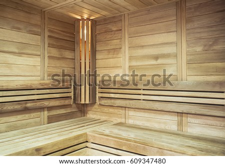The cozy interior of the sauna with illuminated in the corner #609347480