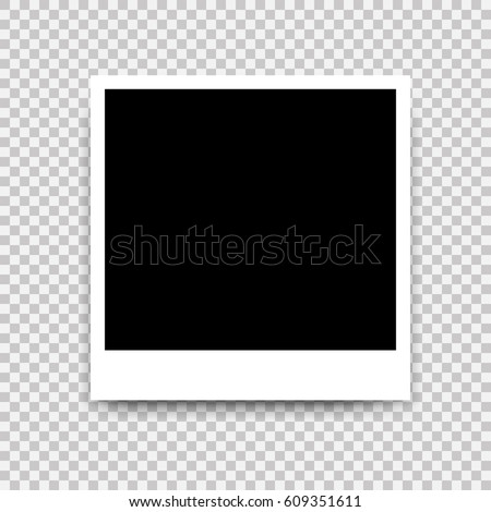 Vector Photo frame mockup design. White border on a transparent background Royalty-Free Stock Photo #609351611