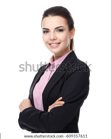 Confident young manager on white background #609357611