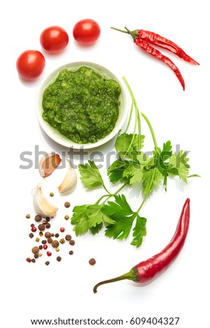 Mediterranean food and drink healthy lifestyle concept: Italian herbs vegetables and spices. Top view. Isolated on white. #609404327