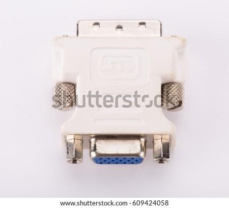 DVI VGA adapter on white #609424058