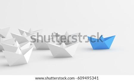 Leadership concept, blue leader boat leading whites. 3D Rendering #609495341