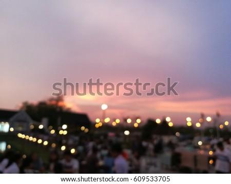 Blurred People in restaurant outdoor background, Thailand #609533705