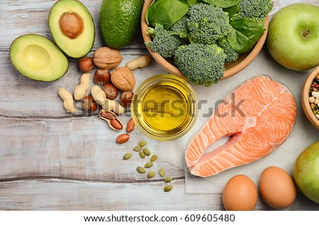 Selection of healthy products. Balanced diet concept. Top view, copy space. #609605480