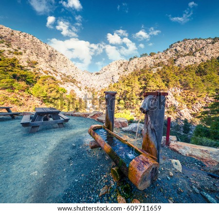 Resting place in the Goynul Cayon. Splendid spring morning in the popular tourist place. Beautiful outdoor scene in Turkey, Asia. Beauty of nature concept background. #609711659