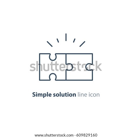 Simple solutions concept, compatibility line icon, assemble puzzle pieces, solving problem Royalty-Free Stock Photo #609829160