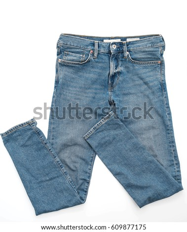 Blue Jeans on white background #609877175