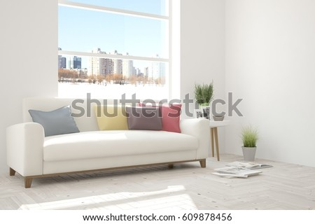 White room with sofa and urban landscape in window. Scandinavian interior design. 3D illustration #609878456