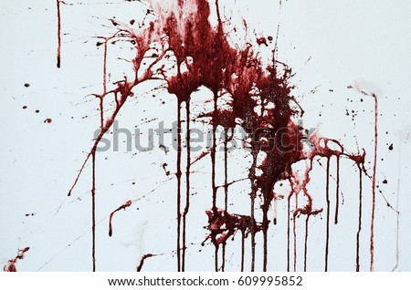 Background texture cement white wall with red blood-like paint streaks