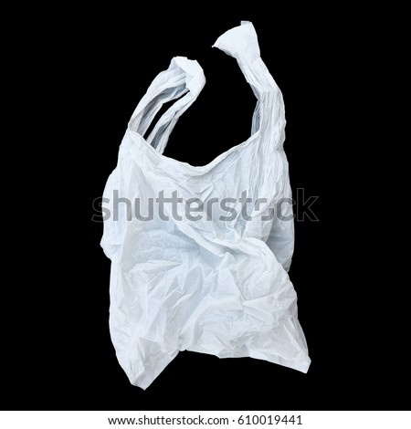 it is one white plastic bag isolated on black. #610019441