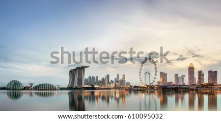 Singapore Skyline and view of skyscrapers on Marina Bay #610095032