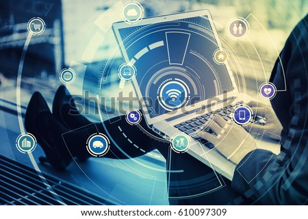 laptop PC and Internet of Things, abstract image visual