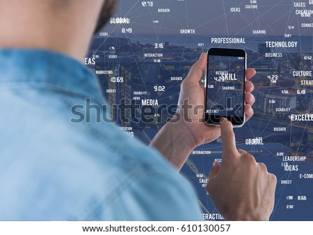 Digital composite of Man touching phone against Night city with connectors #610130057