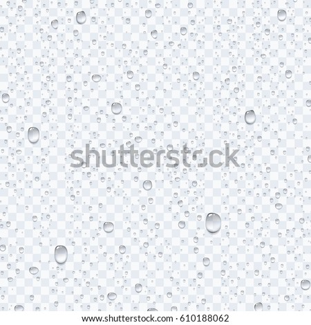 Water rain drops or steam shower isolated on transparent background. Vector clear vapor bubbles or water droplets on window glass surface for your design #610188062
