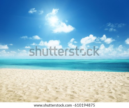 sunny tropical beach and perfect sky #610194875
