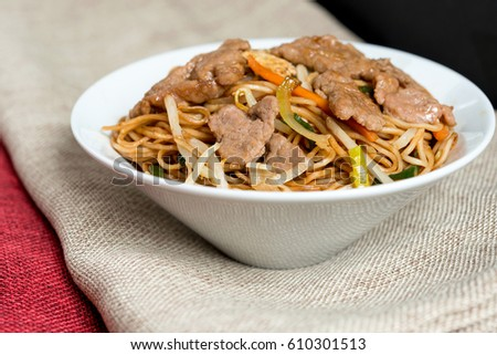 fried noodle asian food on the table  #610301513