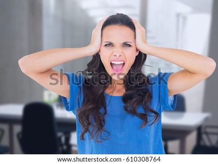 Digital composite of Stressed woman in office #610308764