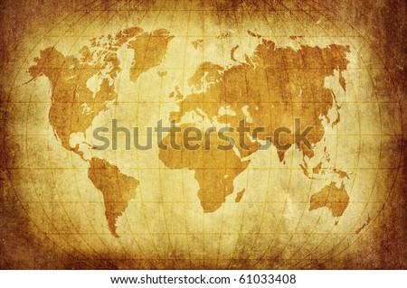 world map with Latitude and Longitude lines in vintage pattern