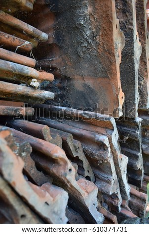 old stacked roof tile #610374731
