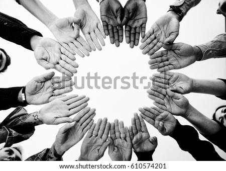 Diverse People Hands Together Partnership #610574201