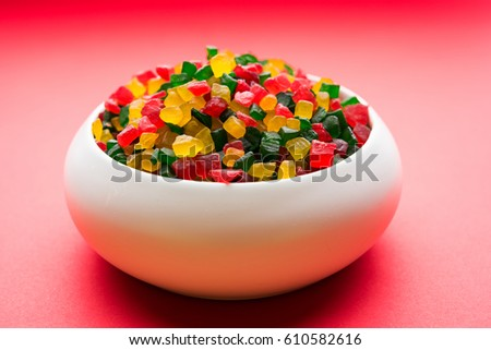 Sweet Fruit Candy Also Know As tutti-frutti, Candied Fruits served in a bowl used in masala pan in india or in cakes or sweets #610582616