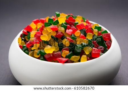Multicolour Candied Fruits or Tutti-Frutti, served in a bowl, selective focus #610582670