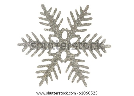 Silver snowflake	/ Silver snowflake isolated on a white background