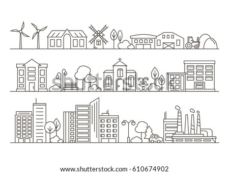 Vector City, Town and Countryside Illustration in Linear Style - buildings, skyscraper, church, park, factory, barn, mill, tractor and trees. Thin line art icons. Royalty-Free Stock Photo #610674902