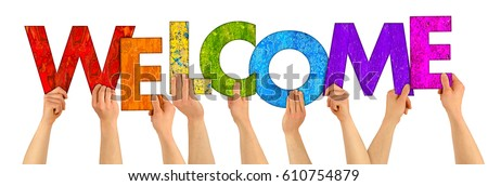 hands holding up colorful wooden letters shaping the word welcome isolated on white background Royalty-Free Stock Photo #610754879