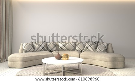 interior with sofa. 3d illustration #610898960
