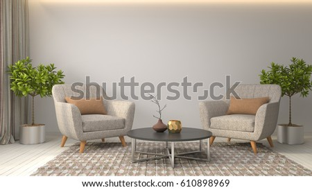 interior with chair. 3d illustration #610898969