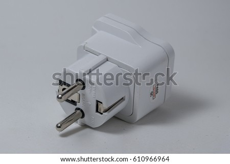 Electrical adapter isolated on white background #610966964