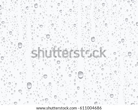 Water rain drops or steam shower isolated on white background. Realistic pure droplets condensed. Vector clear vapor bubbles on window glass surface for your design Royalty-Free Stock Photo #611004686
