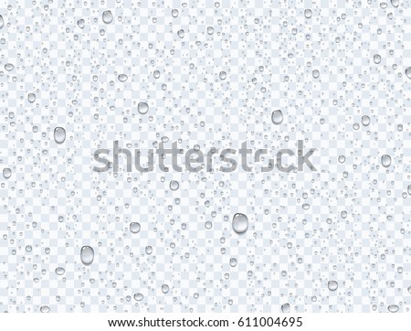 Water rain drops or steam shower isolated on transparent background. Realistic pure droplets condensed. Vector clear vapor water bubbles on window glass surface for your design. Royalty-Free Stock Photo #611004695