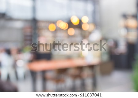 The blur of the coffee shop, which is a popular drink all over the world and served with snacks on the day of work or holidays, gives the aroma as everyone is accustomed. #611037041