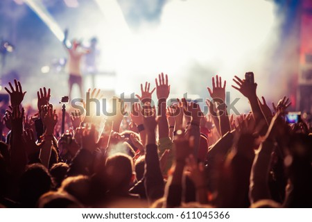 crowd at concert - summer music festival #611045366