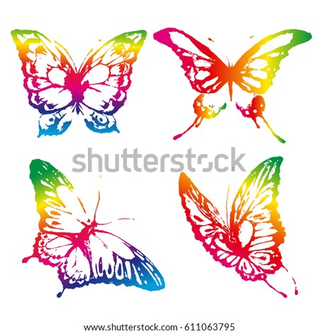 beautiful butterflies, isolated  on a white #611063795