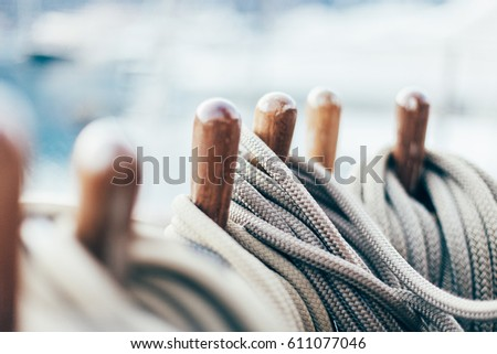 rope on a yacht with wooden details