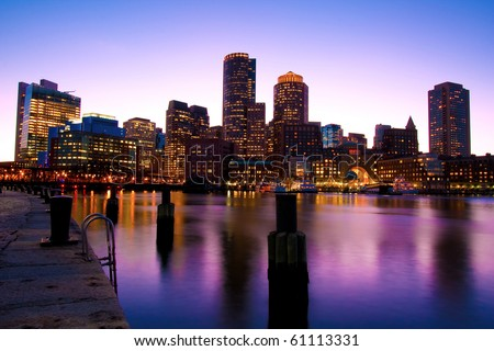Boston Skyline at Dusk in Massachusetts - USA.